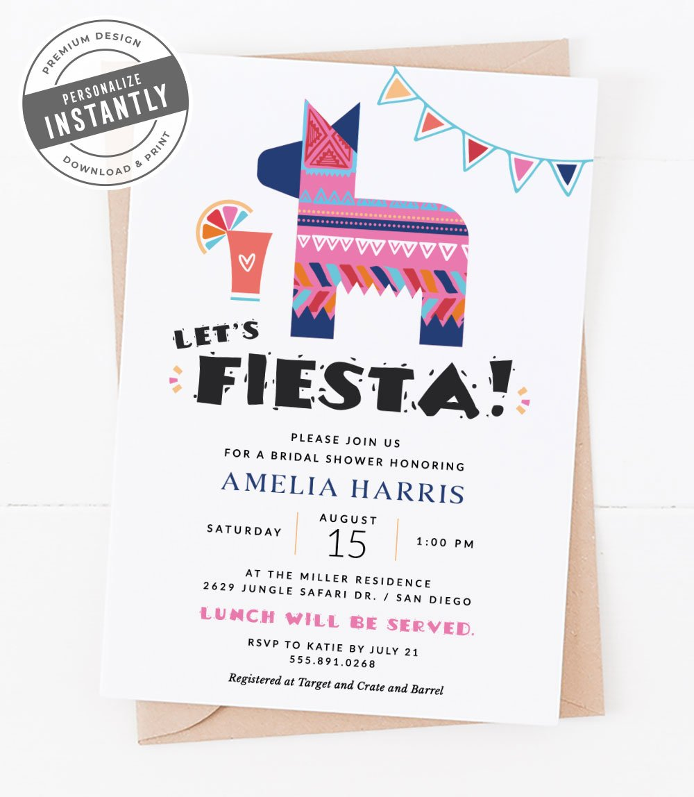 Modern Fiesta Bridal Shower Invitation