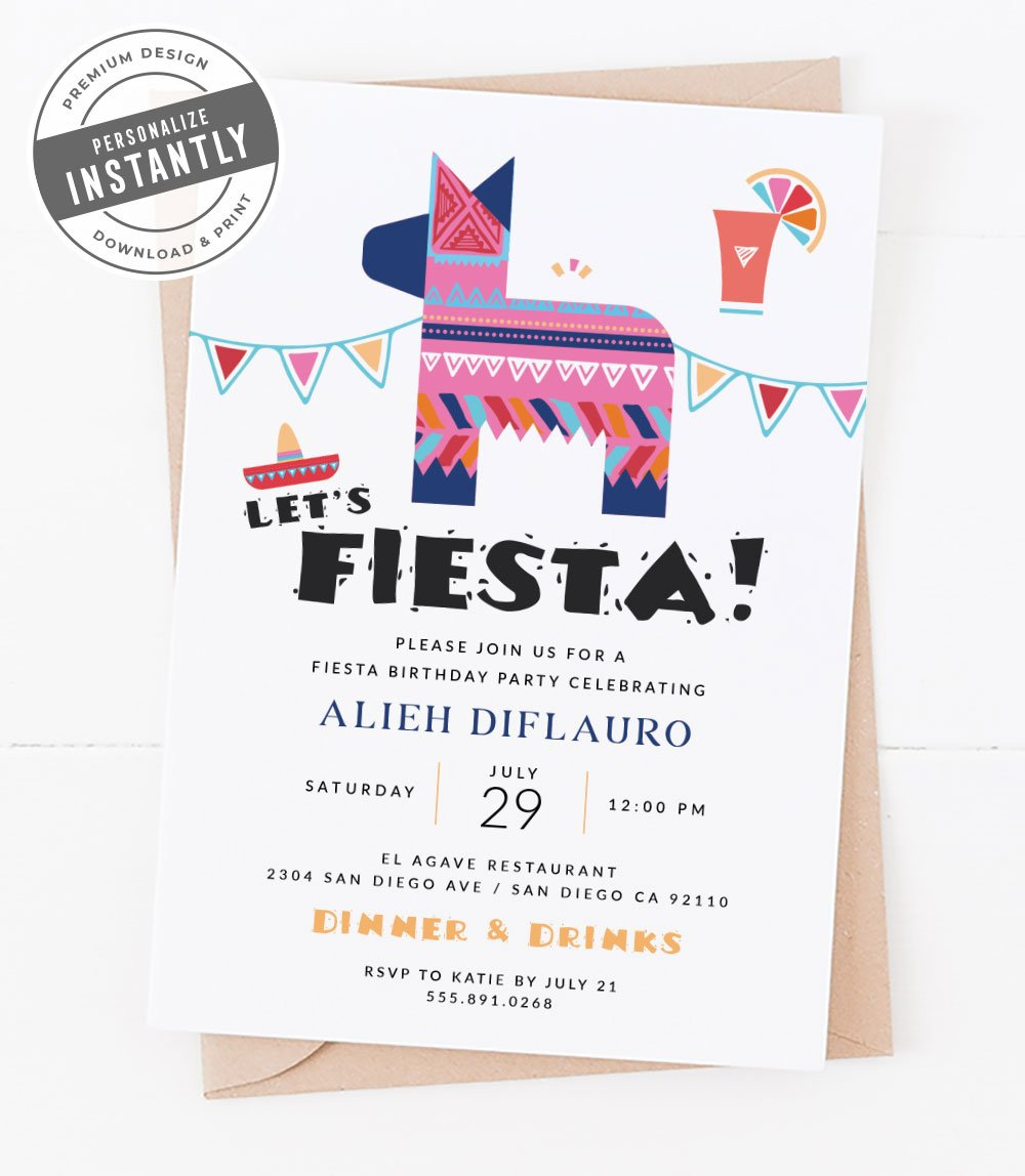 Modern Fiesta Cocktail Party Invitation