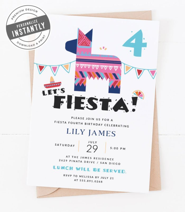 Modern Fiesta Birthday Party Invitation
