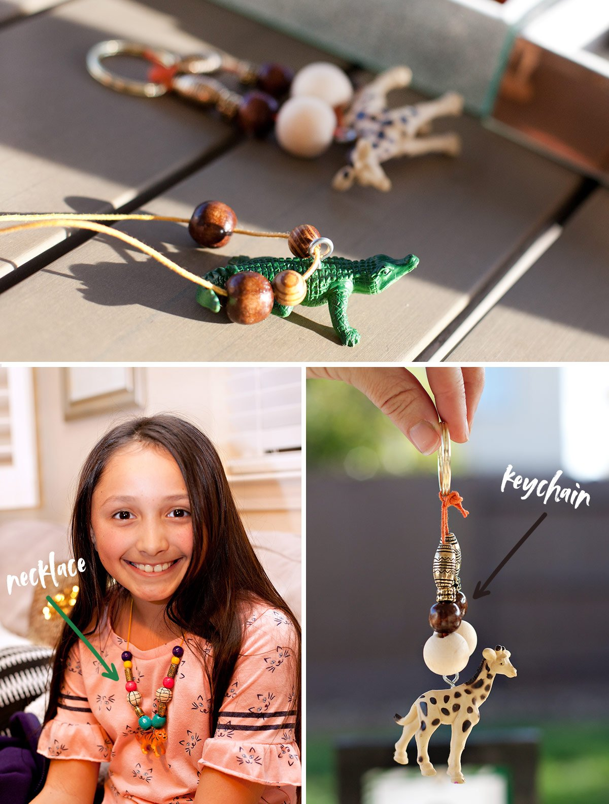 DIY Wild Animal Necklaces & Keychains