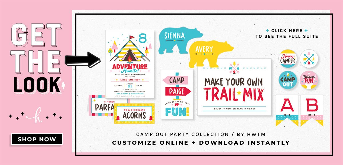 Girls Camping Birthday Party Printables