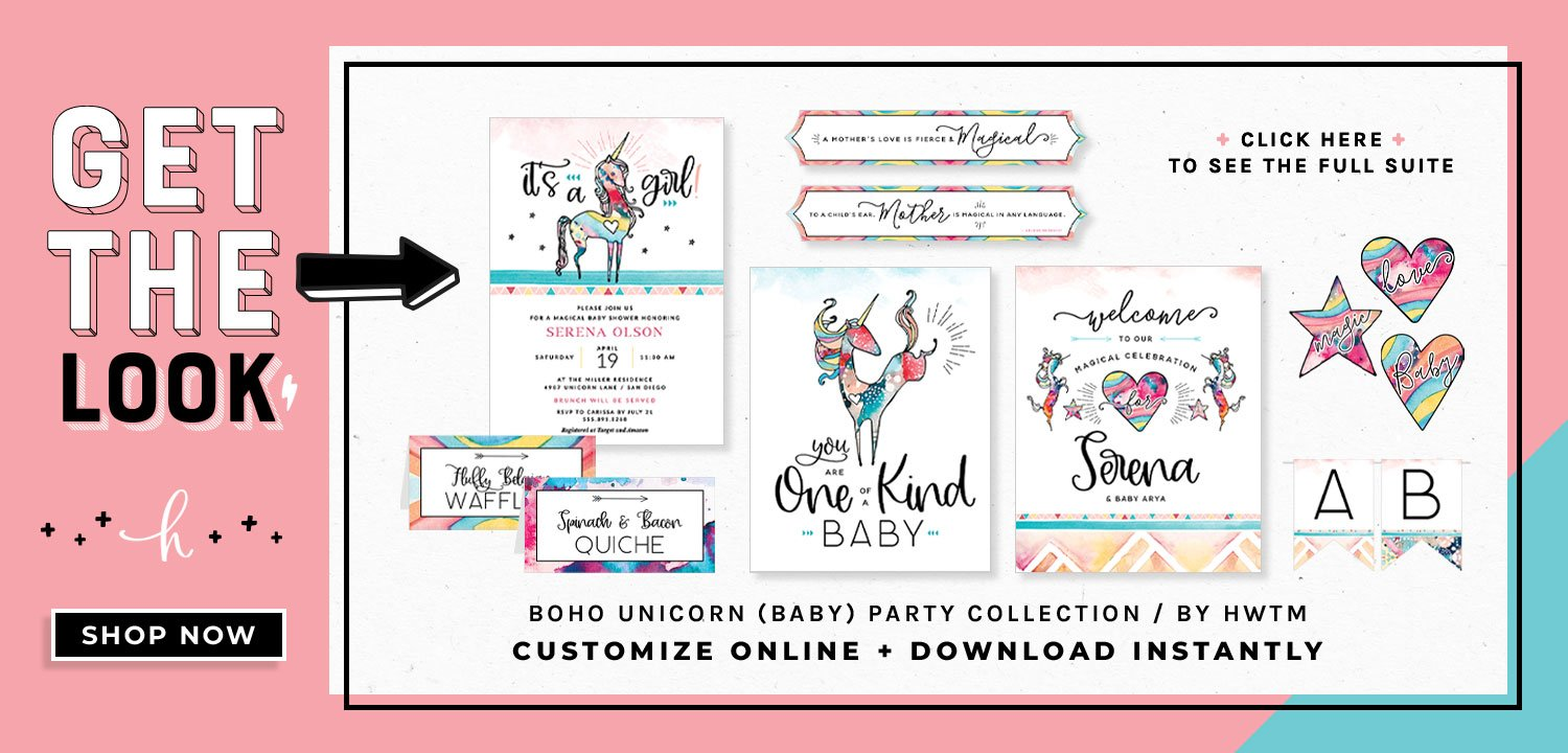 Unicorn Baby Shower Printables
