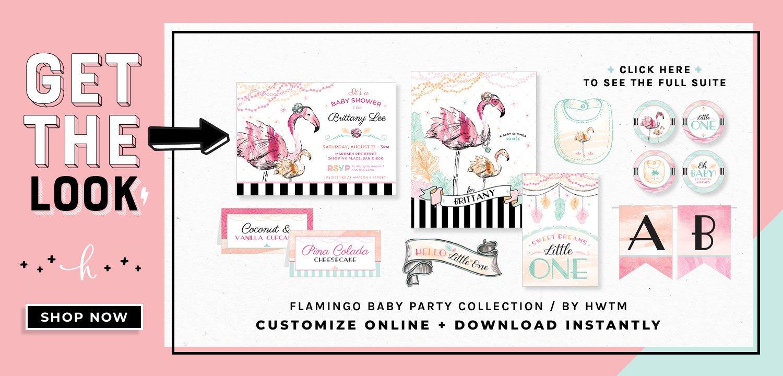 Flamingo Baby Shower Printables