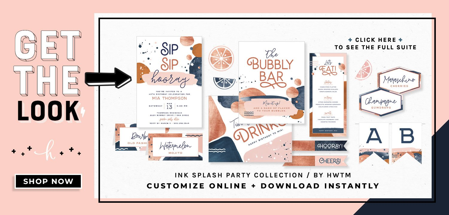 Ink Splash Party Printables