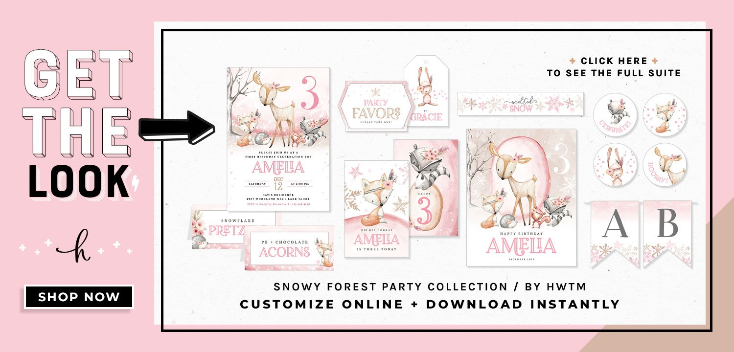Snowy Forest Birthday Printables