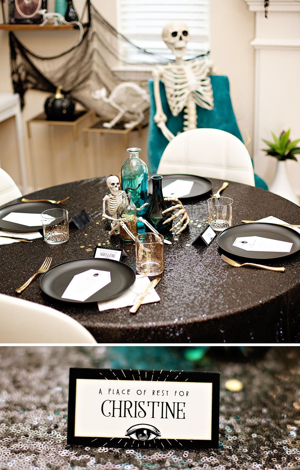 Glam Halloween Table Black Sequins