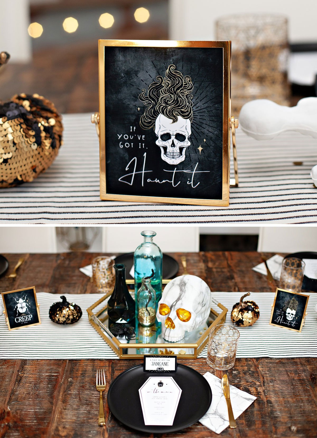 Glam Skulls Halloween Table