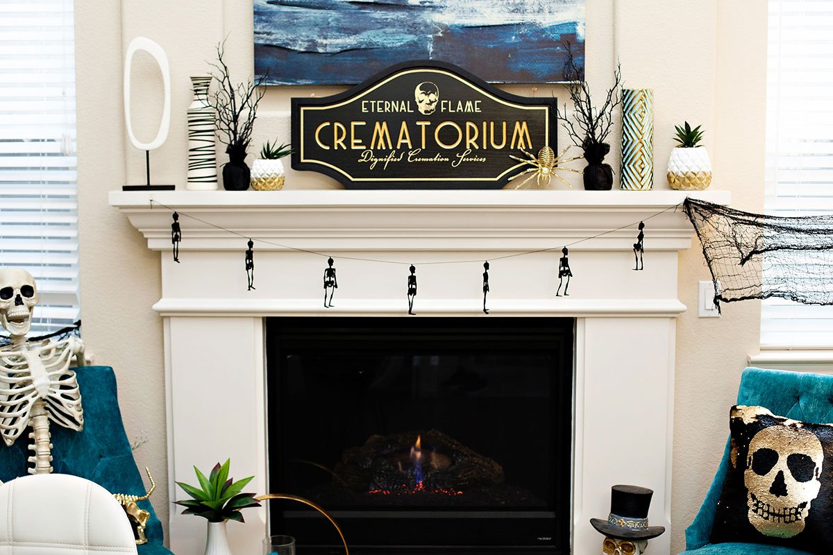 Black and Gold Halloween Fireplace Ideas