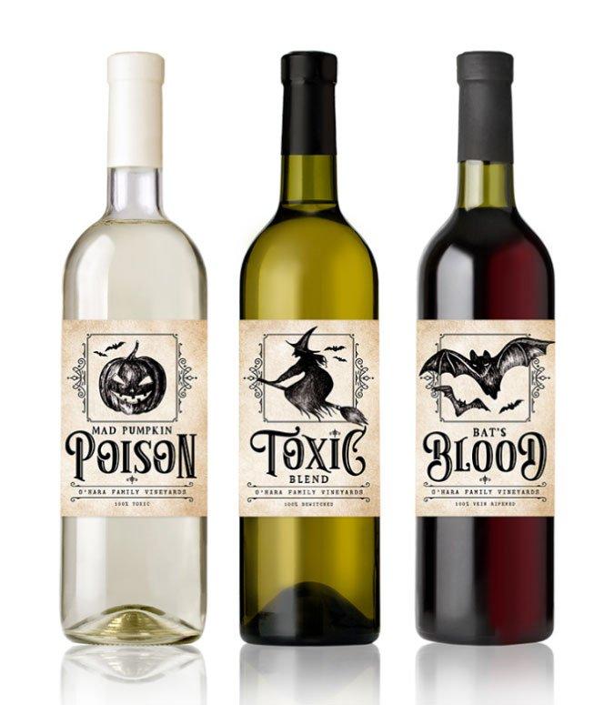 personalized halloween wine bottle labels