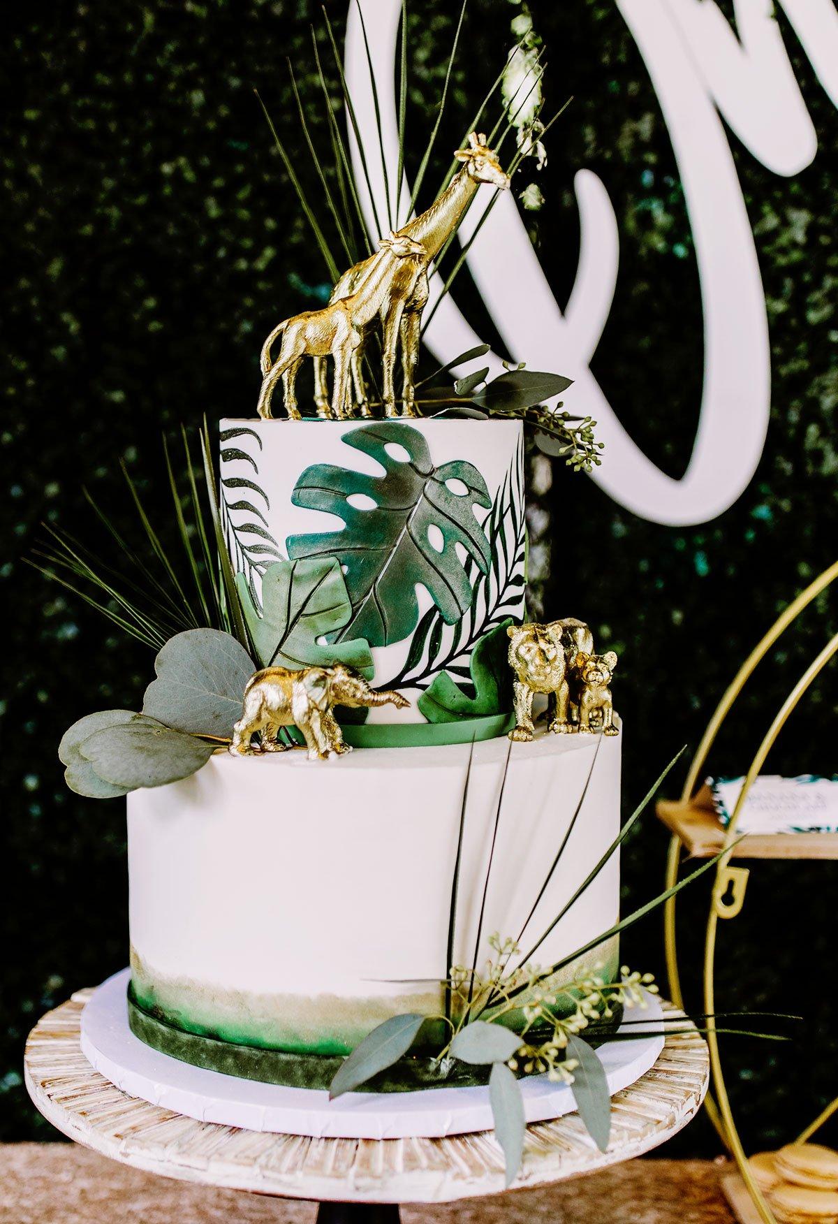 gold safari baby shower cake