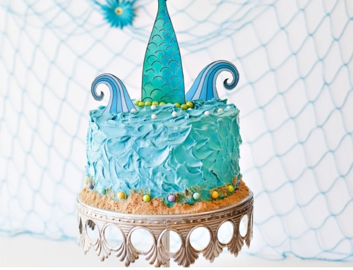 Mermaid Party Cake + Printable Topper