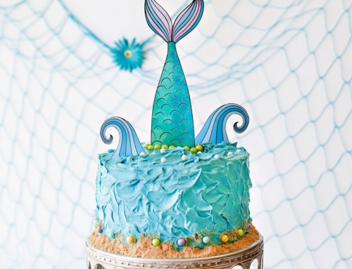 Mermaid Party Cake + Printable Topper