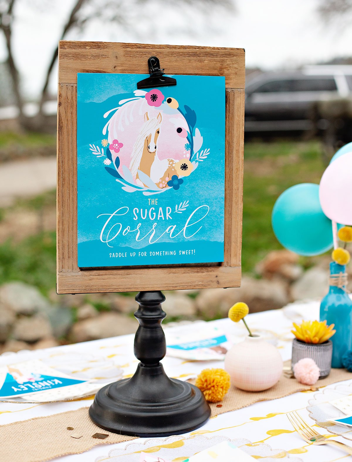 horse party printable dessert sign