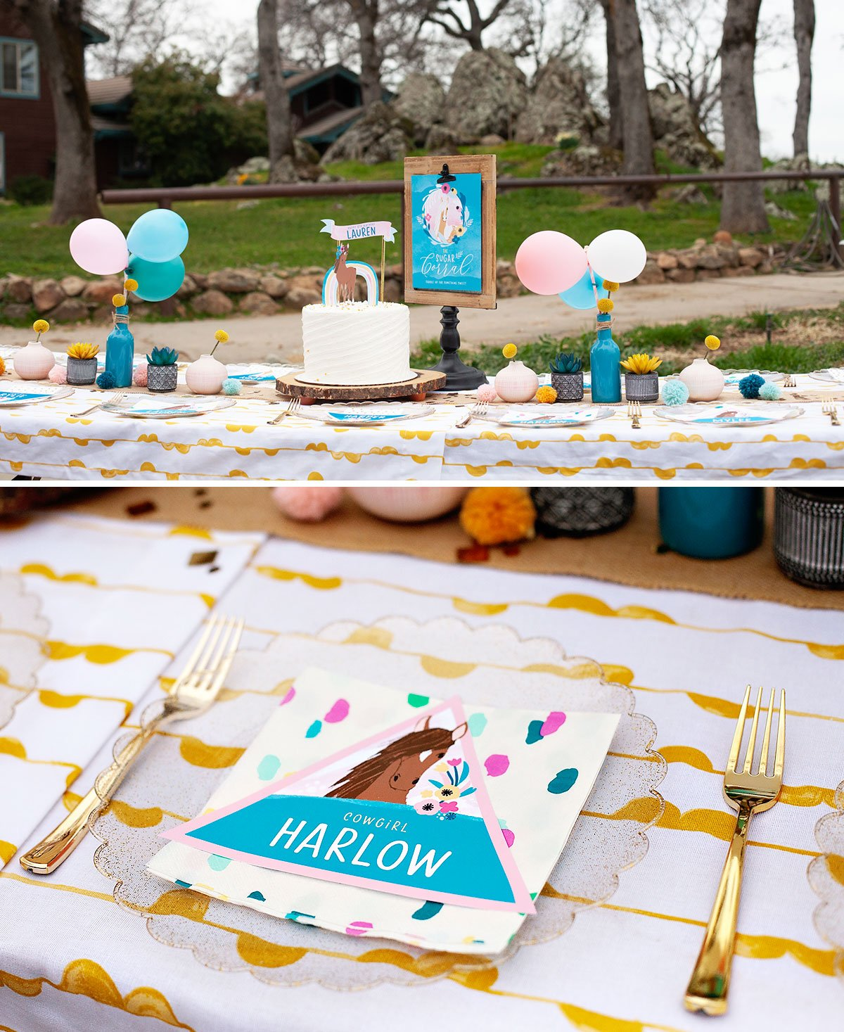 horse party kids table ideas