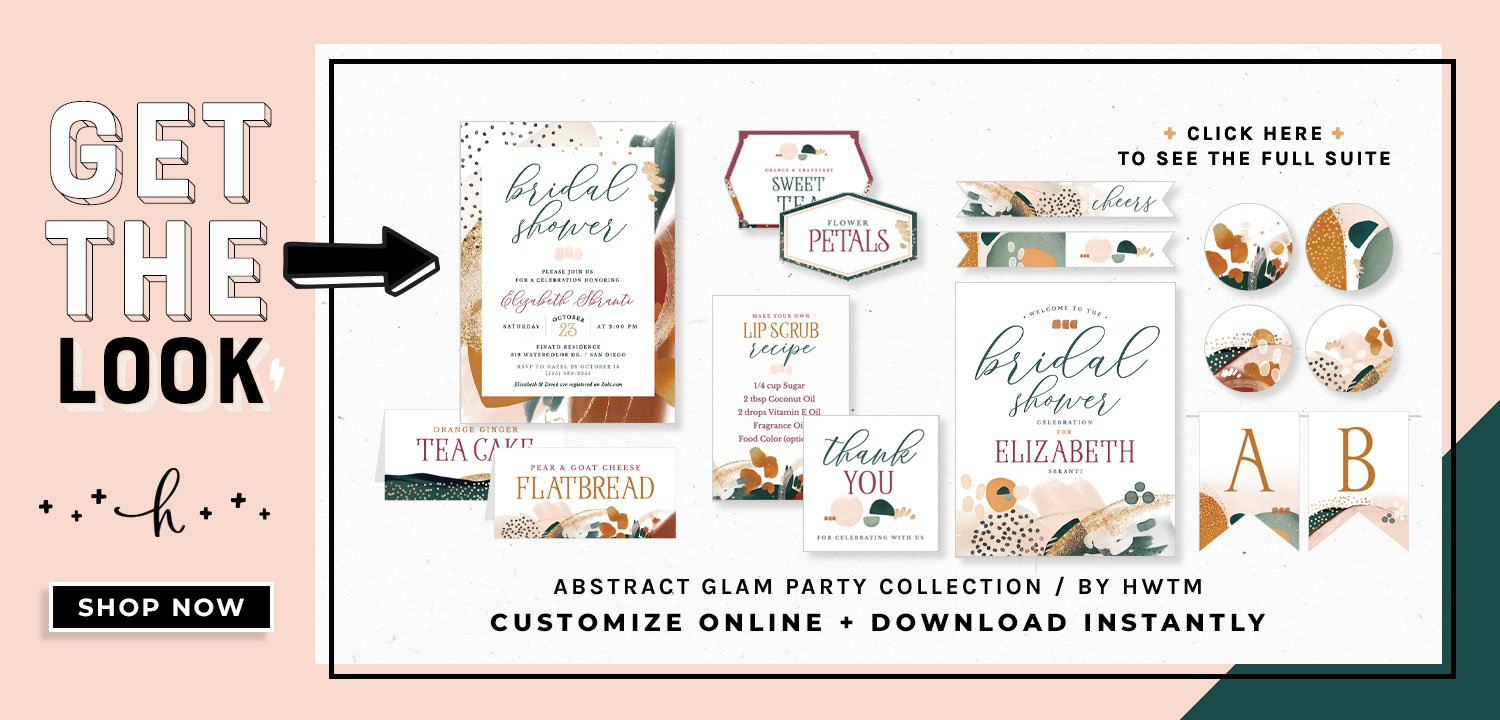 Abstract Glam Bridal Shower Printables