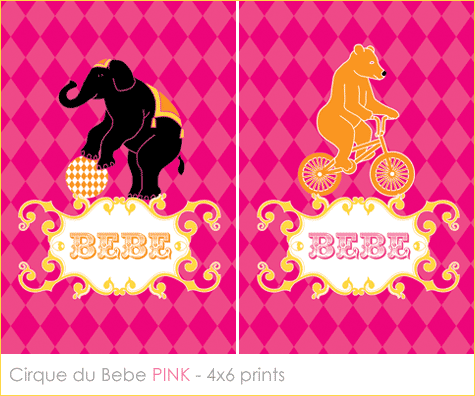 French Circus Baby Shower printables