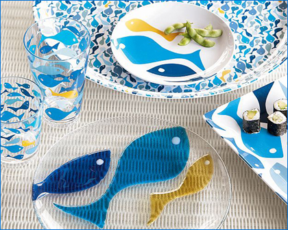 pottery barn melamine fish dishes